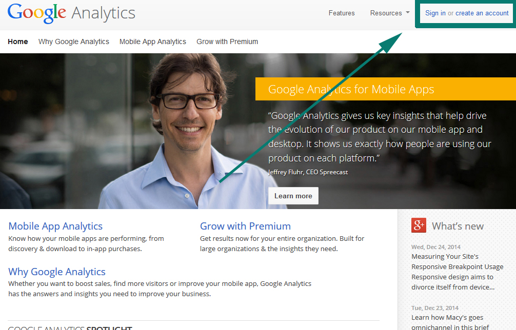 google analytics first screen