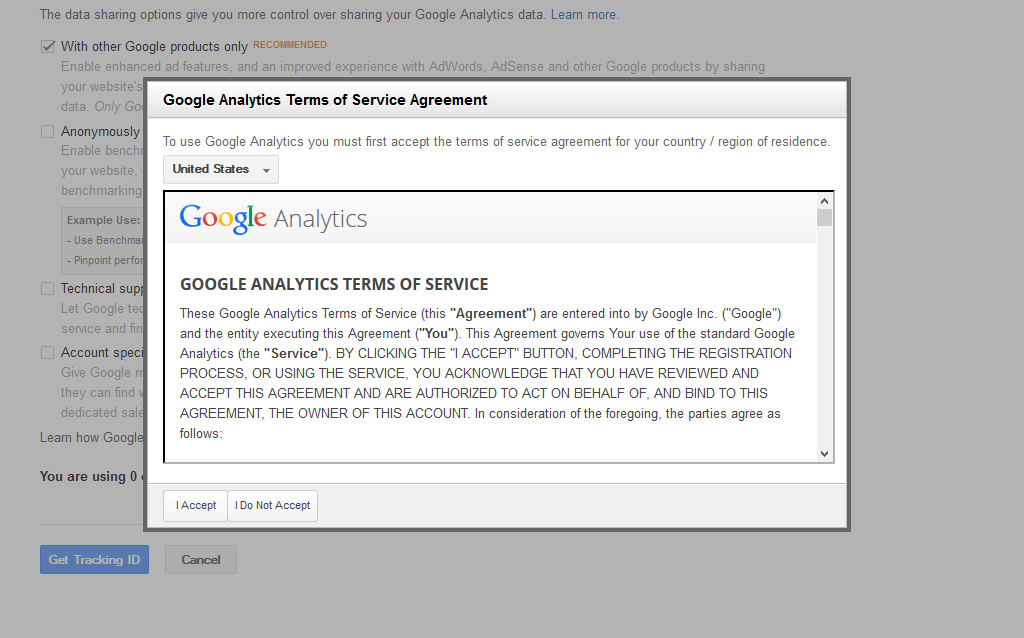 google analytics tos agreement